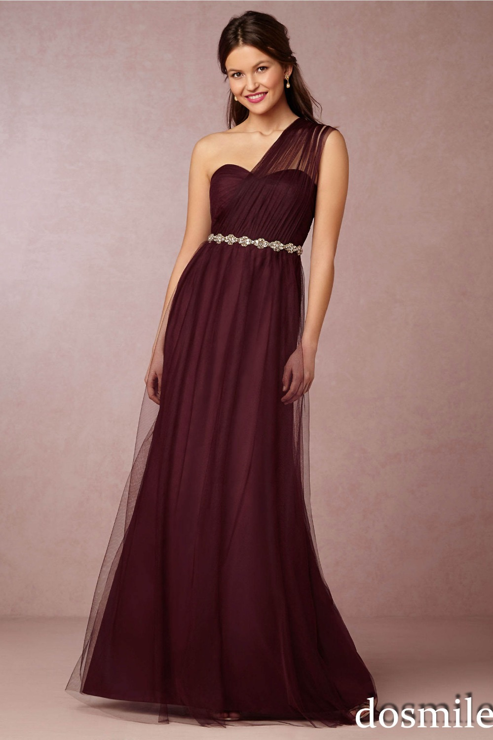 2016 Charming One Shoulder Sweetheart Burgundy Bridesmaid
