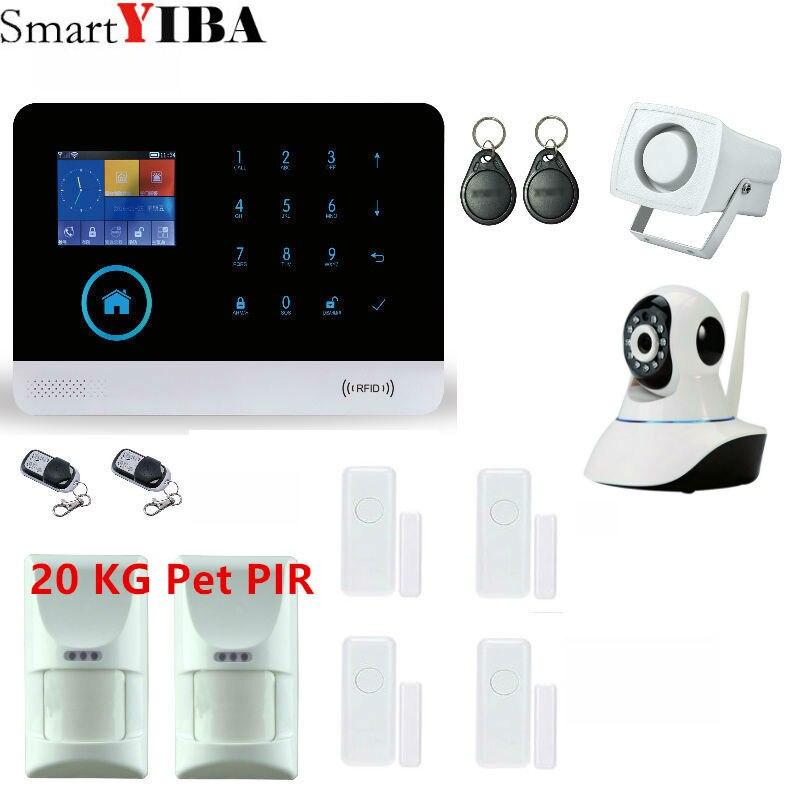 SmartYIBA WIFI GSM Alarm System Security Surveillance Strobe Siren 20KG wireless intelligent pet-immunity PIR motion iOS Android