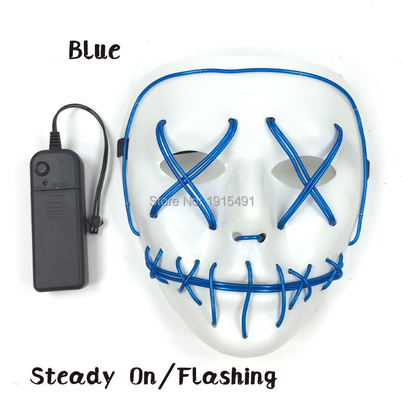 Top Selling Holiday Lights Neon Easter Decor Strip Led Demon Mask Twinkle EL Wire Scar Mouth Mask Burning Man Festival Supplies stage design 220v 1 3mm yellow gorgeous 15meters led strip neon lights 360 degree of illumination for burning man festival