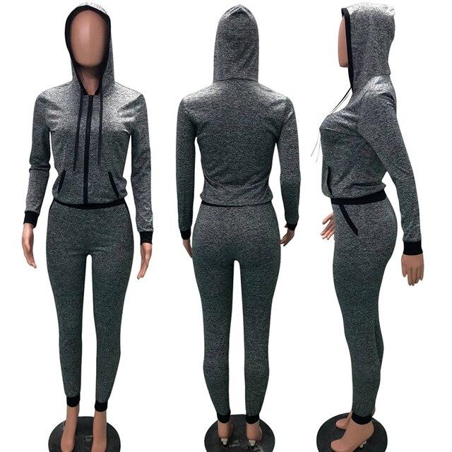 2 TWO PIECE SET Hoodies Jacket Zipper Jogger Trouser Tracksuit Sweatshirt For Women Sportsuit Female Sweat Suit Long Pant Winter 5