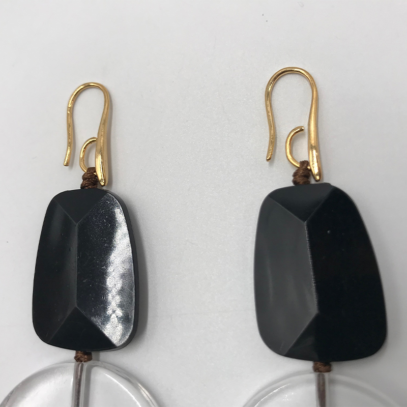 Kara Kale Boho Fashion Jewelry Gothic Black and White Transparent Resin Beads Drop Earings Vintage Gold Earrings For Women ED017 in Drop Earrings from Jewelry Accessories