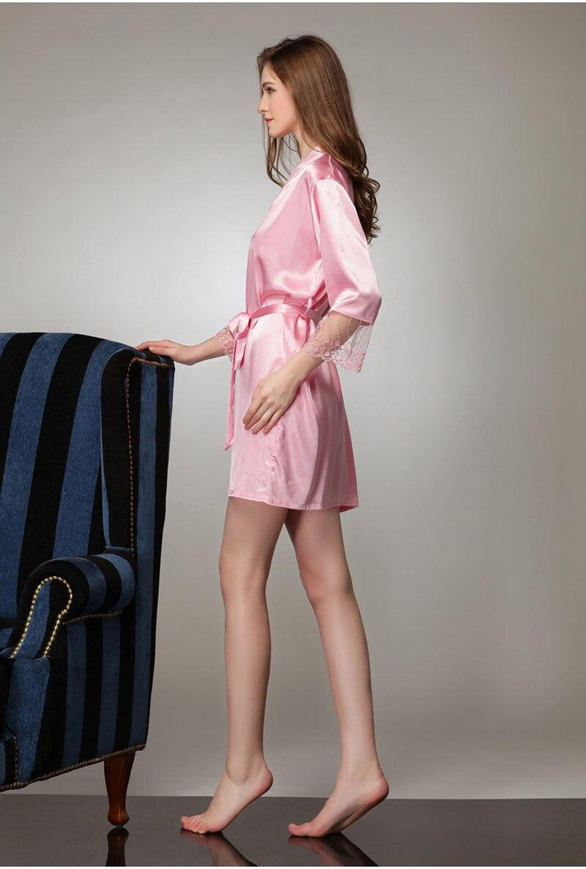 acacc7d494 Japanese Yukata Robe Satin Pajamas Bathrobes Kimono Vintage Silk Lingerie  Sexy 2017 Sexy Sleepwear Women Pure Colors-in Robes from Underwear    Sleepwears on ...