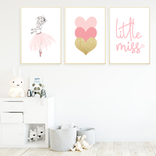 Nordic Kids Poster Pink Ballet Princess Wall Art Canvas Painting Quotes Posters And Prints Baby Girl Room Decor Unframed