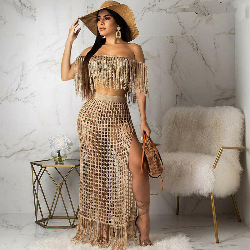 Two Piece Sets Beach Wear Cover-Ups Women Crochet Hollow Out Tassel Off Shoulder Crop Tops and Skirt Sets Slit Beach Maxi Skirts