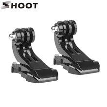 SHOOT 2 pièces sangle de poitrine casque montage avant Surface verticale j crochet boucle de montage pour Gopro Hero 9 8 7 5 Sjcam Xiaomi Yi accessoire