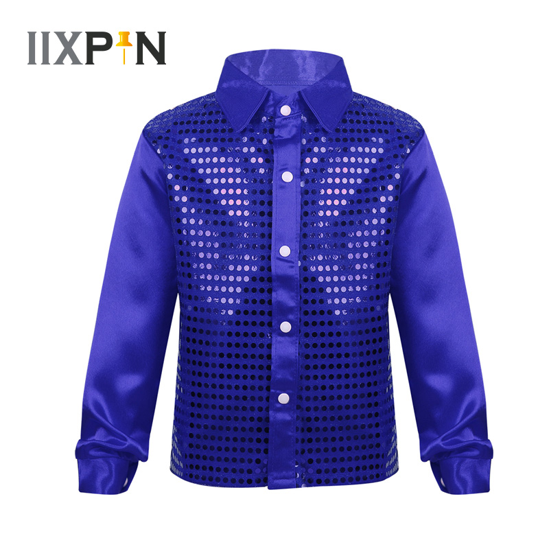 IIXPIN Shiny Kids Jazz Dancing Shirts Glittery Sequined Long Sleeve Spread Collar Shirt For Choir Jazz Dance Stage Performance