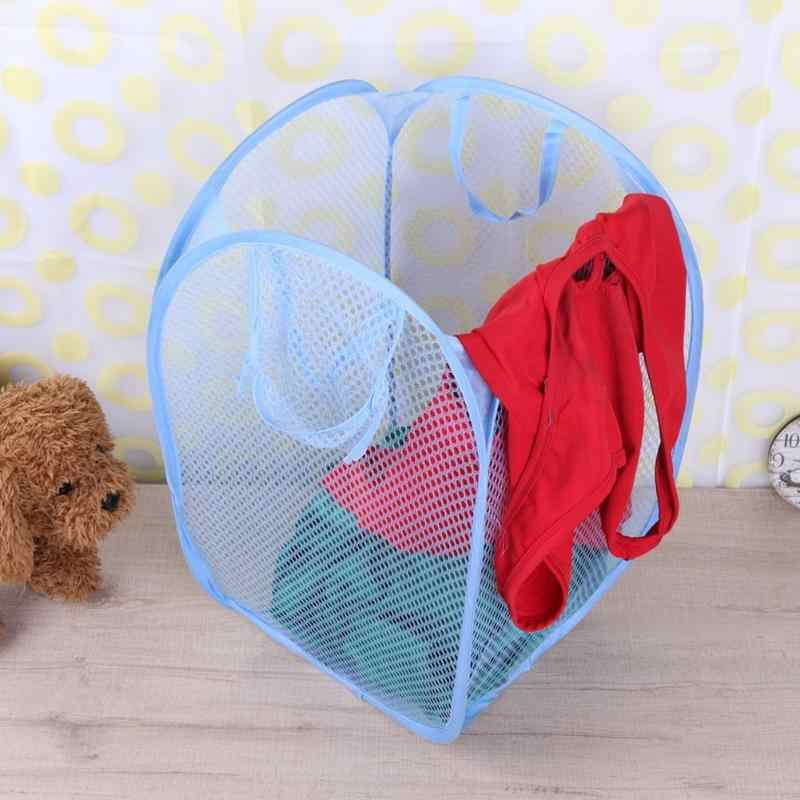 Folding Mesh Dirty Washing Clothes Laundry Bucket Portable Sundries Home Storage Organizer Large Capacity Take Care Of Clothes