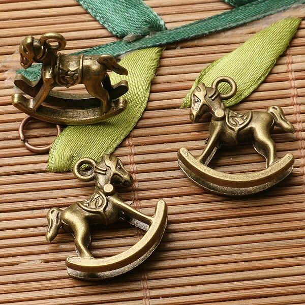 10pcs antiqued bronze color crafted rocking horse design charms EF2917