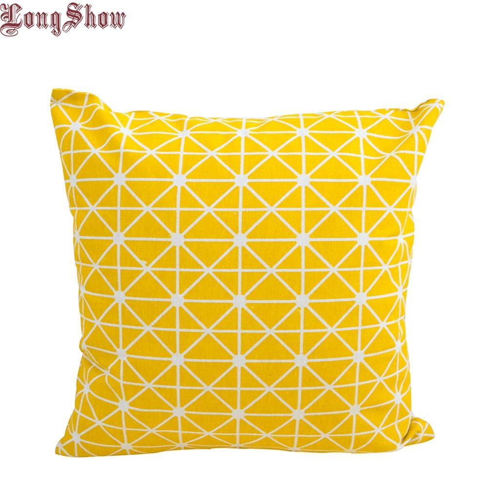 1 Pcs 45 cm Quadrado Casa Decorativa Amarelo Geométrica Lençóis De Algodão Fronha Fronha