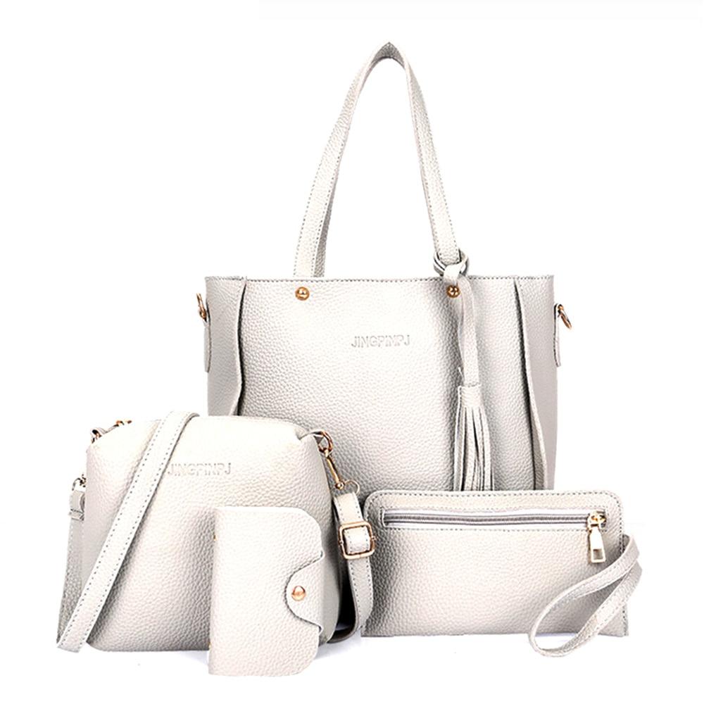 Women Bags Large Capacity Cosmetic Bag Set Tassel Handbag Fashion Shoulder Bag Purse Ladies Crossbody Bags Black Red 4pcs/set