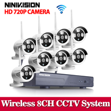 NINIVISION Plug&Play 8CH Wireless NVR Surveillance System NO HDD P2P 720P HD IR Outdoor CCTV WIFI IP Security Camera System