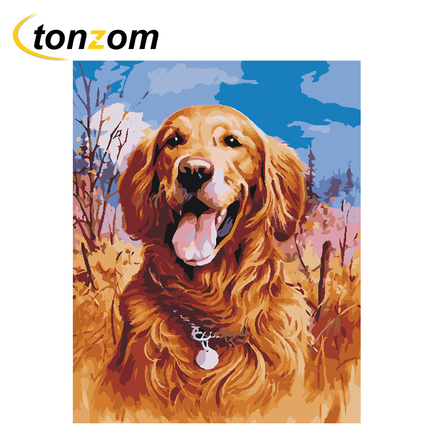 RIHE Field Dog Diy Painting By Numbers Animal Oil On Canvas Hand Painted Cuadros Decoracion Acrylic Paint Home Art