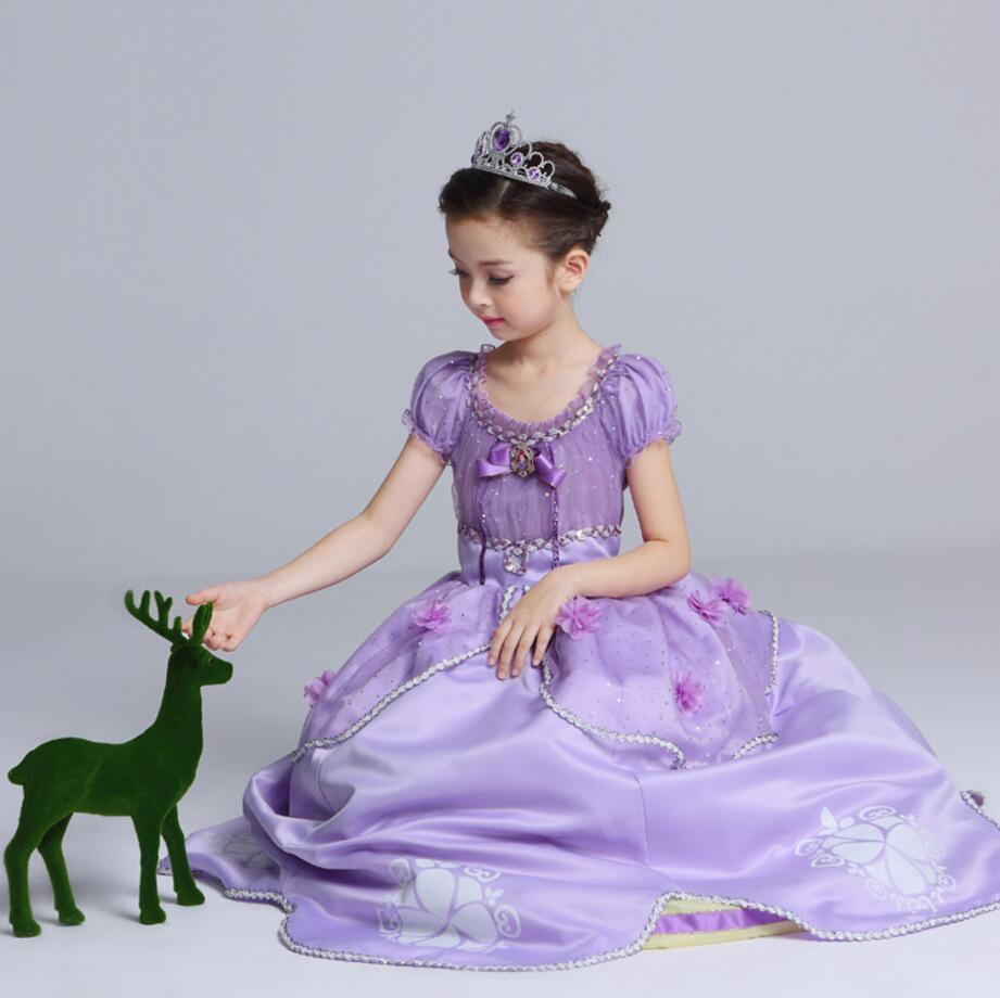 2017 Summer Girls Children Sophia Princess Dress Girls Halloween ...