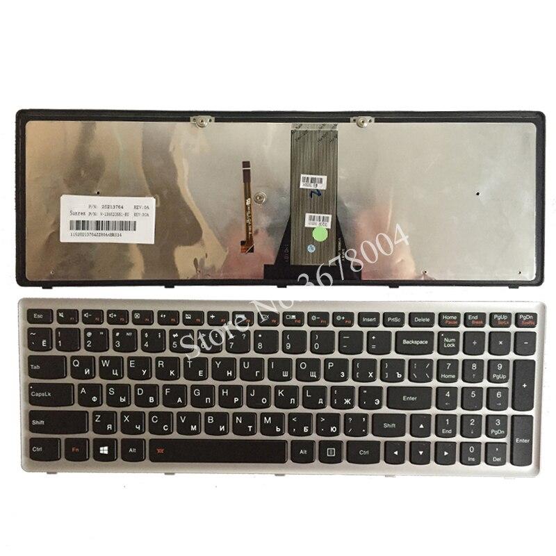Neue Russische laptop tastatur für Lenovo IdeaPad G500S G505S S500 Z510 Flex 15 Z505 RU Tastatur mit Backlit Silber- grau rahmen