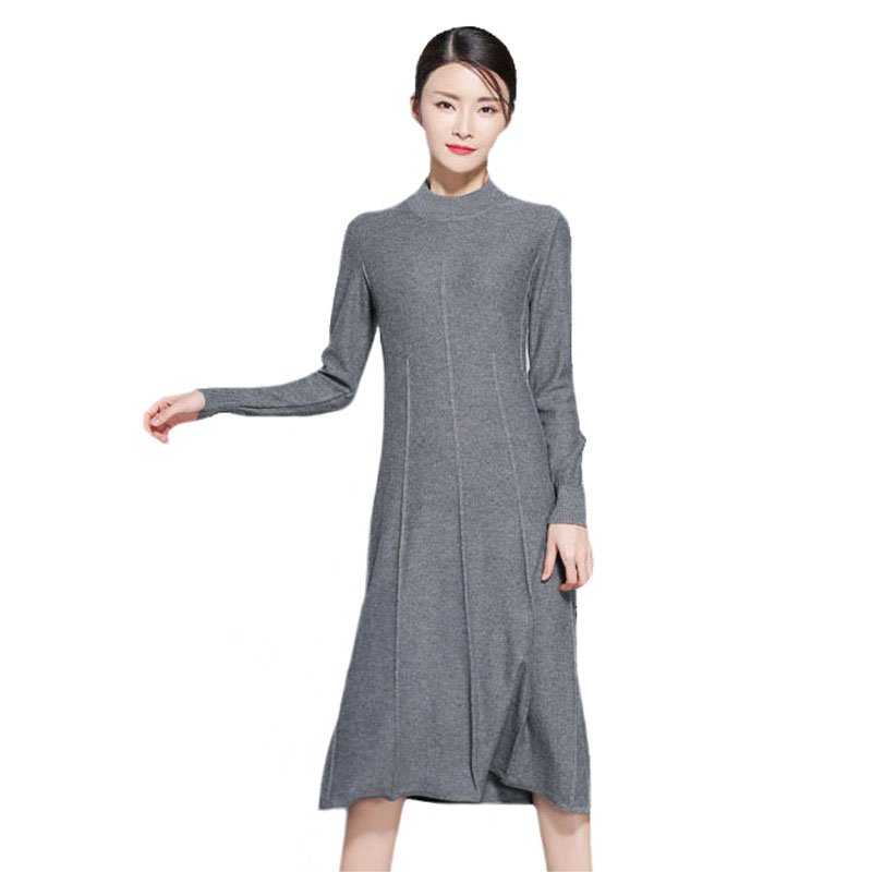 Ginia Cashmere Gowns Wrap Gown: Warm Cashmere Dress For Winter Wool Knitted Winter Dress