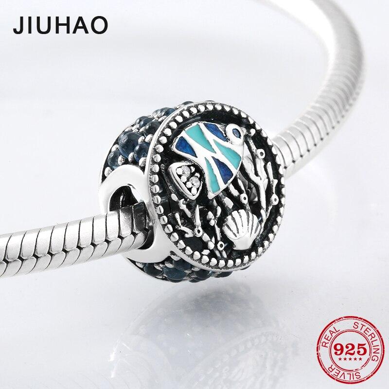 Scorching summer sun 925 Sterling Silver blue Enamel tropical fish CZ beads Fit Original Pandora Charm Bracelet Jewelry making