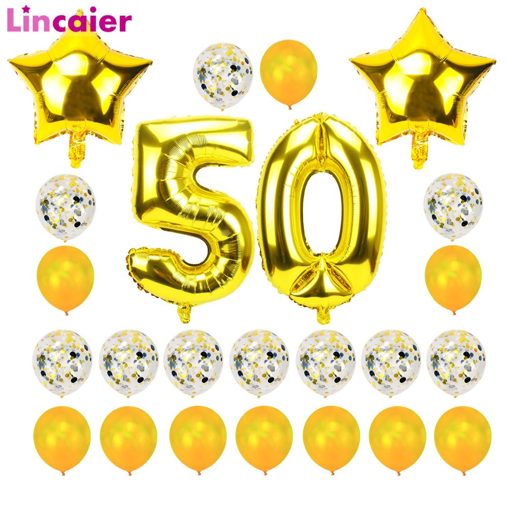 Lincaier 32 Inch 62 Cm 50th Birthday Gold Balloons Happy 50 Years Party Decorations Men Women Favors Supplies