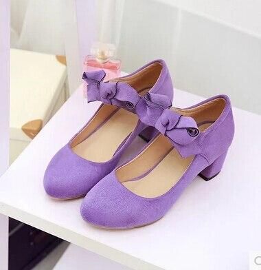Con En Pajarita De Terciopelo Cm Zapatos Una 04 01 Redonda El Púrpura Cabeza Grueso 03 Otoño Solo Nuevo Rosa 5 02 Frente Un Escarlata CXfqw5