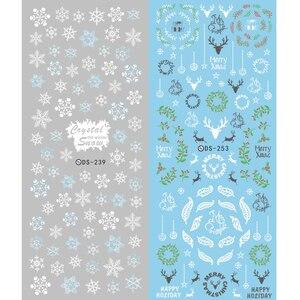 Image 2 - 1 arkusz motyw świąteczny kalkomanie do paznokci woda zimowa naklejki do przenoszenia płatków śniegu Xmas Deer Nail Art Slider tatuaż naklejany dekoracja