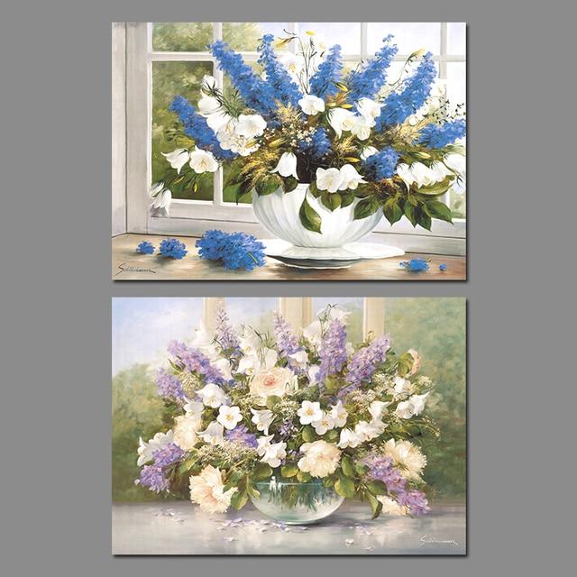 2 Pezzi Blu Viola Bianco Disposizione di Fiori Decorazione Della ...