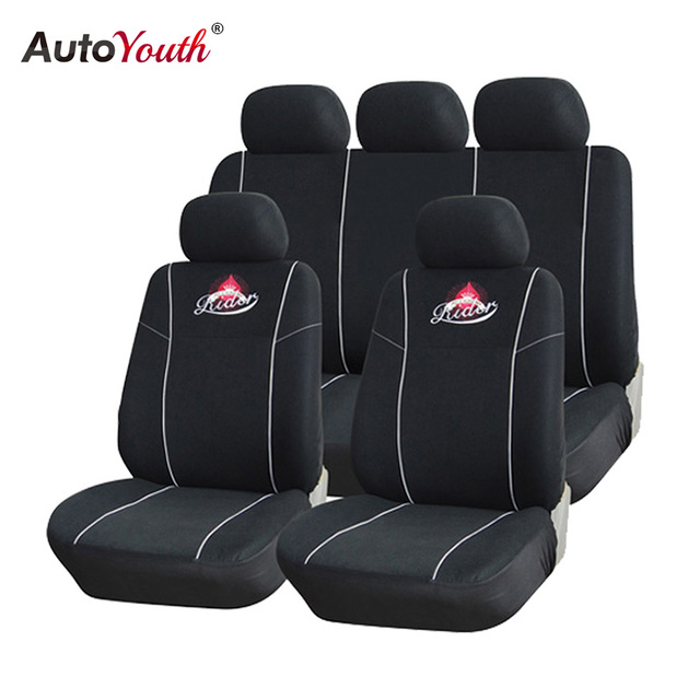 AUTOYOUTH Full Set Universal Car Seat Covers Styling Protectors Black Classic Auto