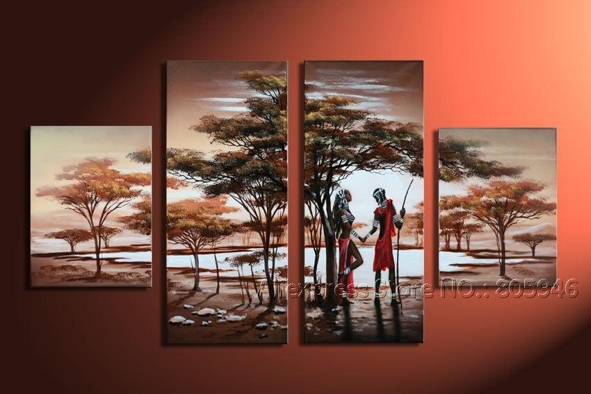 Framed !!! Large Art Modern Landscape Oil Painting On Canvas African ...