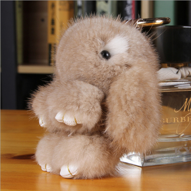Verdadeira pele de Vison chaveiro coelho coelho Macio boneca Decoração do carro Colorido chave e bolsa pingente Kc95182