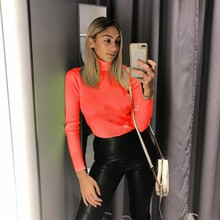 AINYFU 2019 Women Spring summer Fashion Turtleneck Long Sleeve T-Shirt Elegant Slim Casual Tees Ladies Tight Stretch Tops 127