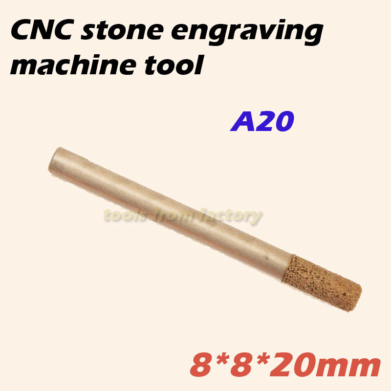 1pc 8*8*20mm cnc router diamond stone carving tool stone engraving machine cutter stone cutting bits  цены
