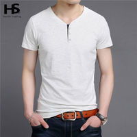 HS Free Shipping Button V Neck T Shirt Men 2016 Summer New 100 Real Cotton Short