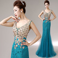 Vestido Festa Longo Cheap Red Blue Lace Embroidery Long Evening Dress 2016 Mermaid Dresses Gown Robe De Soiree AbendkleiderBK120