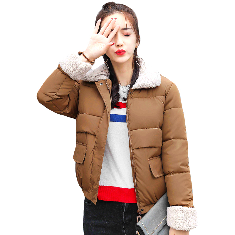2018 new arrival Korean Style short women winter   jacket   turn-down collar autumn womens coat fashion padded   basic     jackets   lamb
