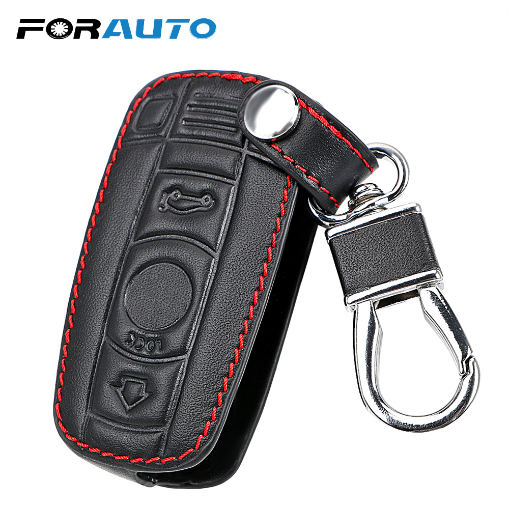 FORAUTO Car Key Case For BMW E90 E60 E70 E87 3 5 6 Series M3 M5 X1 X5 X6 Z4 KeyChain Cover Remote Controller Key Holder Leather