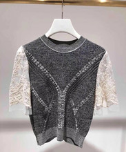 New 2019 Autumn women's lace patchwork T-shirts Fashion knitted Tops Tee A614 цена