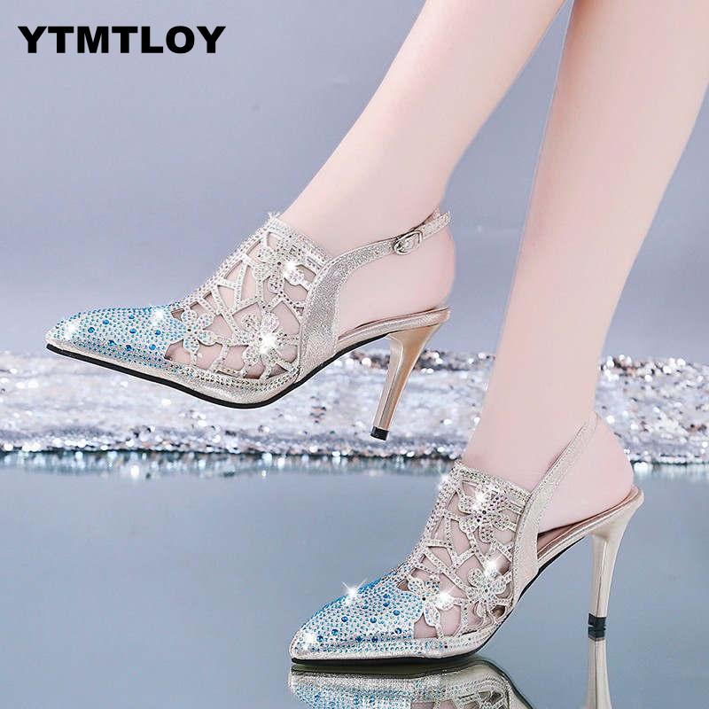 2019 Spring Sexy Pumps Fashion Rhinestones Diamond Beaded Super High Thin Heeled Pointed Toe Slingbacks Women Shoes  Gold