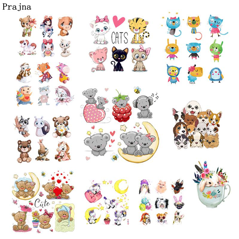 Prajna Cartoon Animals Stickers On Clothes Unicorn Dog Cat Patch Heat Transfer Owls Patches For Clothing DIY Thermal T-shirts