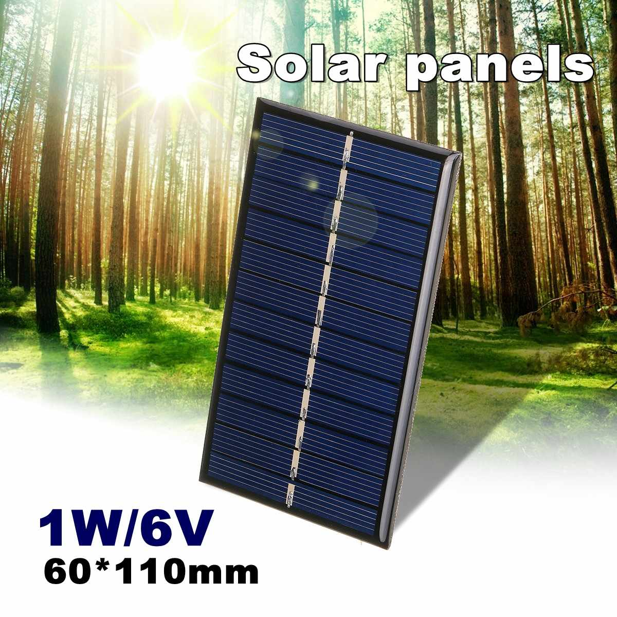 LEORY <font><b>Solar</b></font> <font><b>Panel</b></font> <font><b>6V</b></font> <font><b>1W</b></font> <font><b>Solar</b></font> Charger 5V Phone Battery Charger Mini DIY Epoxy Polycrystalline Cells For Cellphone image
