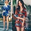 Романтический Цветок Гавайи Призвание Стиль V-образным Вырезом Половина Рукава Шорты Комбинезон Женщин Лето Мода Короткие Комбинезоны Бесплатная Доставка