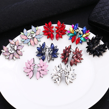 HOCOLE Vintage Rhinestone Earrings For Women Fashion Jewelry Brincos Female Geometric Crystal Drop Earring Statement Girls Gifts
