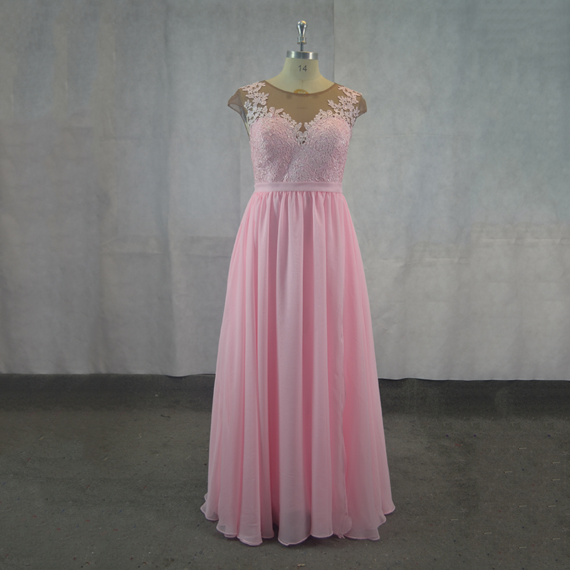 Sparkly Pink Chiffon Long   Bridesmaid     dresses   2018 Simple Style Formal Prom Gowns party Wear   dress   For Bridal   Dress   Plus Size
