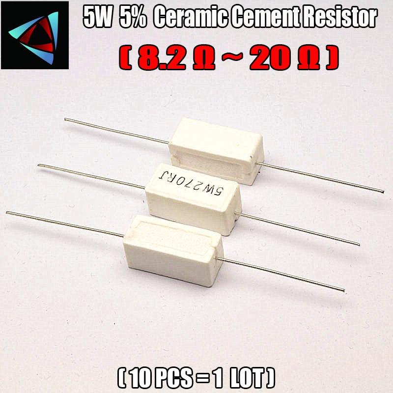 10pcs 5W 5% 8.2 10 12 15 20 ohm R Ceramic Cement Resistor White Through Hole