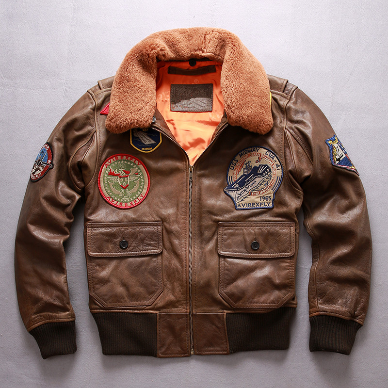 HARLEY DAMSON Brown Men Top Gun G1 Pilot Leather Jacket Wool Collar Plus Size XXXL Genuine Cowhide Aviator Leather Coat