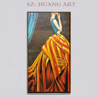 Trendy hand painted modern home decoration wall art sexy Oriental girl poster decoration hall wearing gown girl
