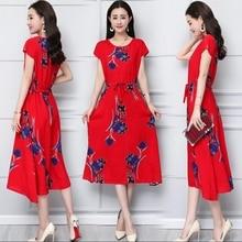 Summer 2019 Eleagnt Work Vestido Women Round Neck Short Sleeve Vintage Floral Printed Pocket cotton silk dress Long Dress plus