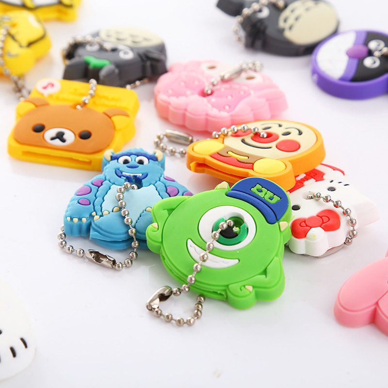 2018 2PCS a set Cartoon Cute Key Cover Anime bear Hello Kitty Totoro Silicone Key Chains ...