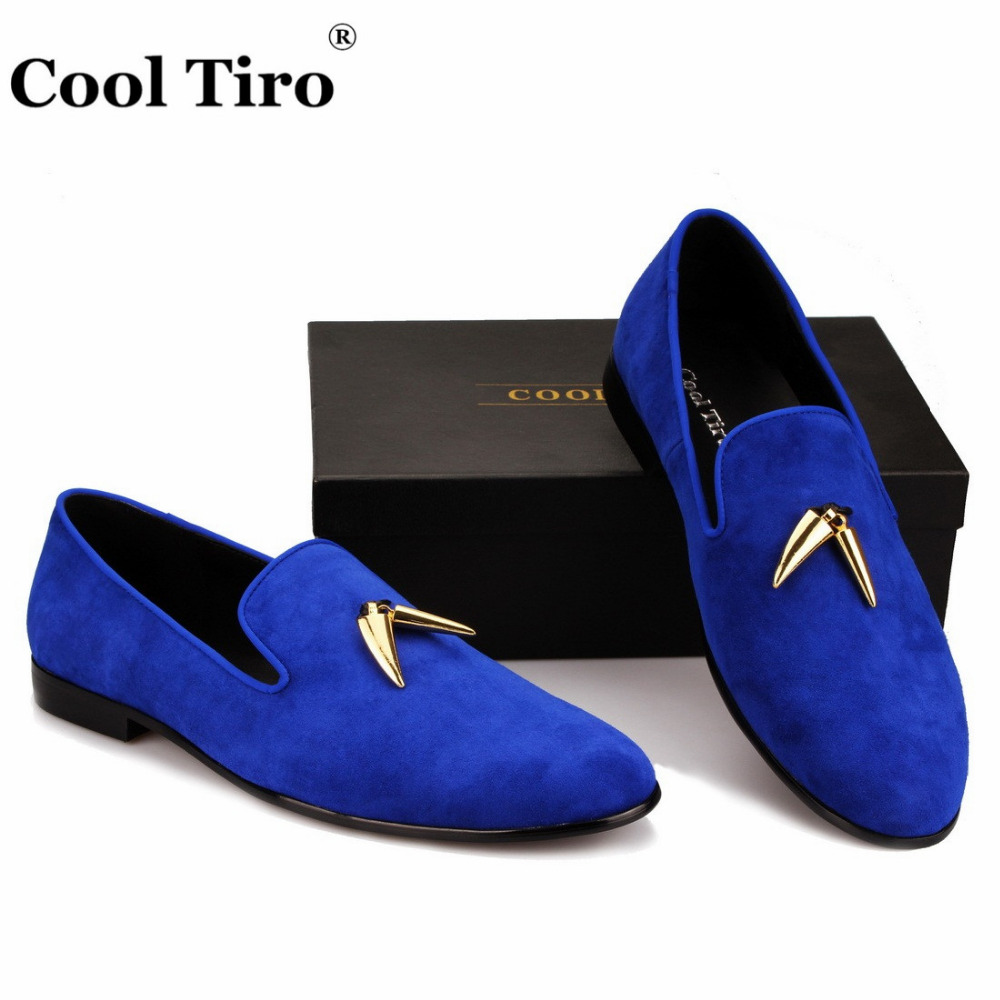 0dd66b5cb COOL TIRO Men Blue suede Shoes Slip On Fashion Male Formal loafers Shoes  Flats metal Casual For man mocassin homme-in Men's Casual Shoes from Shoes  on ...