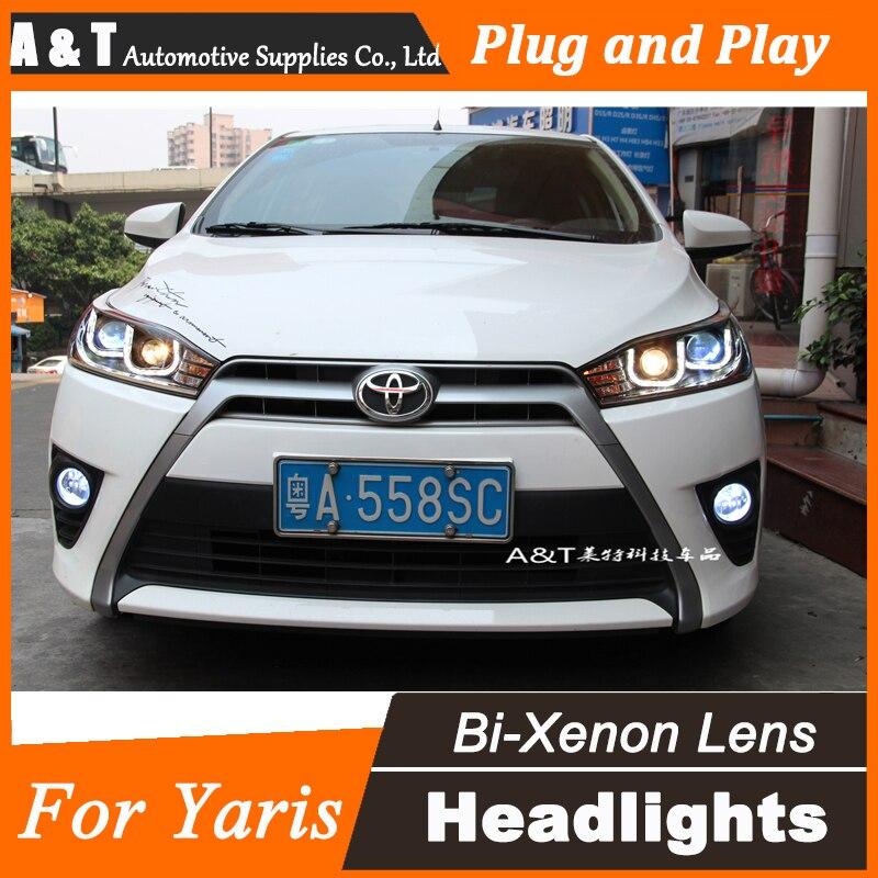 Стайлинга автомобилей для Toyota Yaris в светодиодные фары сборки 2014-2015 Новый Yaris объектив фар ДХО двойным Луч H7 с спрятанный набор 2 шт.
