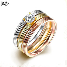 купить DGD017 Punk Silver Rose Gold/Gold Ring Metal 316L Stainless Steel Inlay Zircon Ring for Women Men Fashion 2016 Rings Jewelry дешево