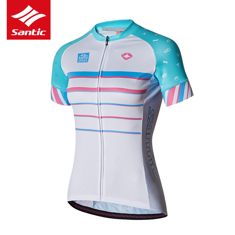 Santic Women Cycling Jersey Short Sleeve Mountain Road Bike DH Jersey Breathable Quick-dry Bicycle Jersey Cycling Clothing