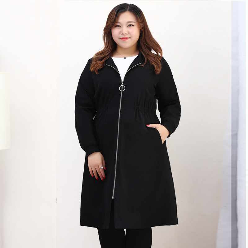 Spring Autumn Trench Coat For Women Oversized Black Casual Long Coats Ladies Large Size 6XL 8XL